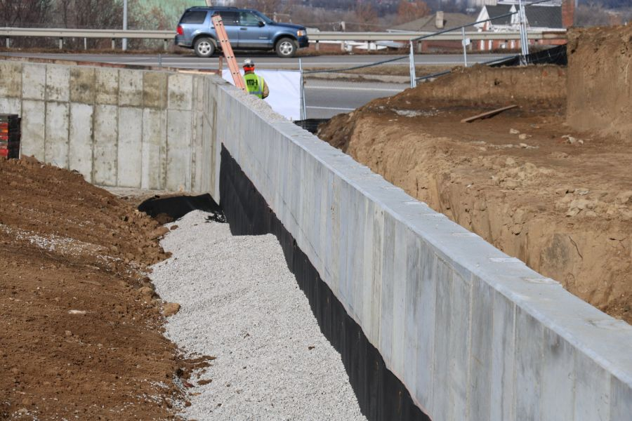 structural concrete wall being built around substation by concrete contractors