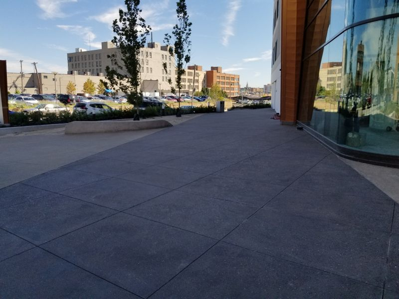 structural concrete with decorative concrete finish outside of building
