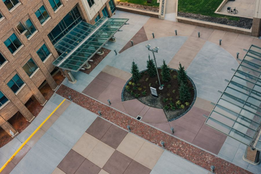 sky view of the decorative concrete street on 805 Pennsylvania Ave