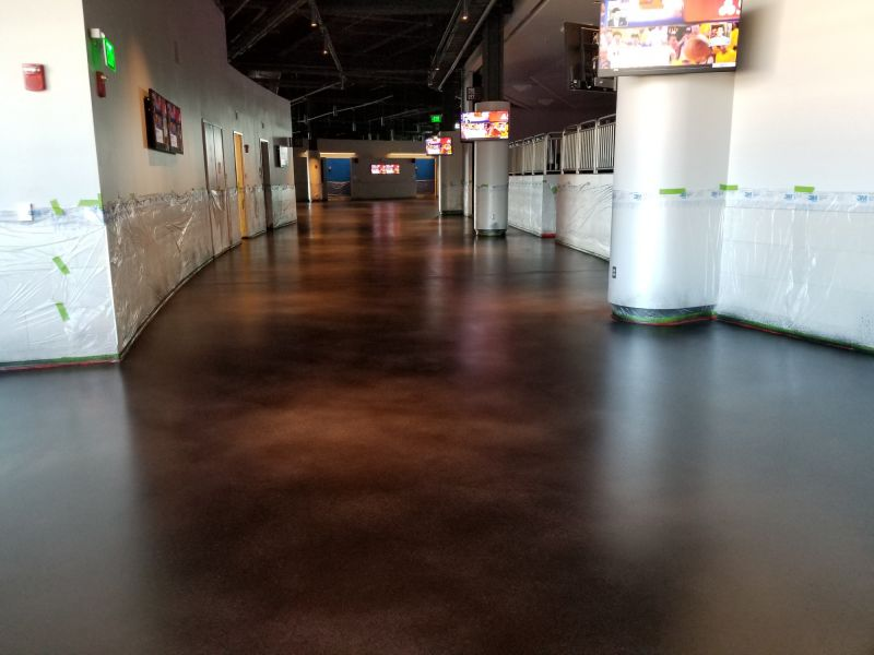 decorative concrete flooring in the Milwaukee Bucks arena