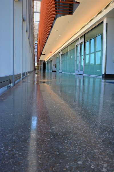 beautiful architecturally built building with decorative concrete as the flooring