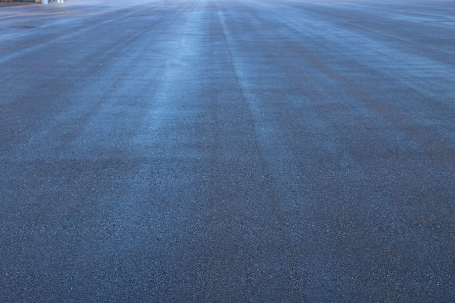 freshly rolled and paved asphalt at the New Century Airport
