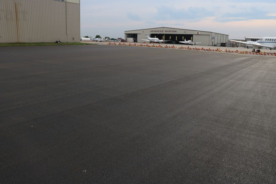 freshly paved and smoothed asphalt paving at the New Century Airport