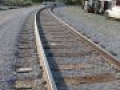 brand new railroad track on gravel