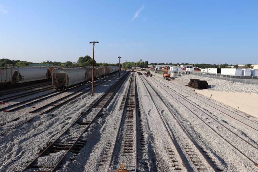 gravel filled railroad tracks near the A&M Pet Supply Manufacturing Plant