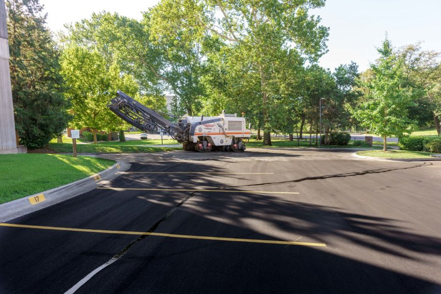 Fresh paved and painted parking lot at Kansas City Arts Institute