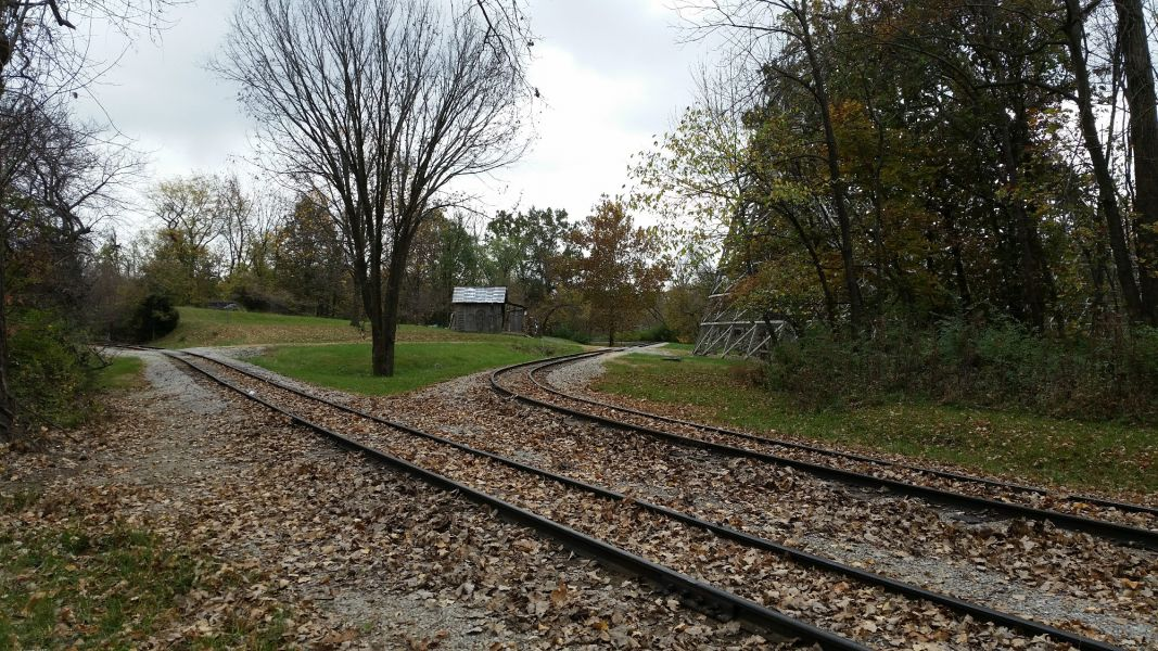 railroad maintenance on World's of Fun railroad tracks