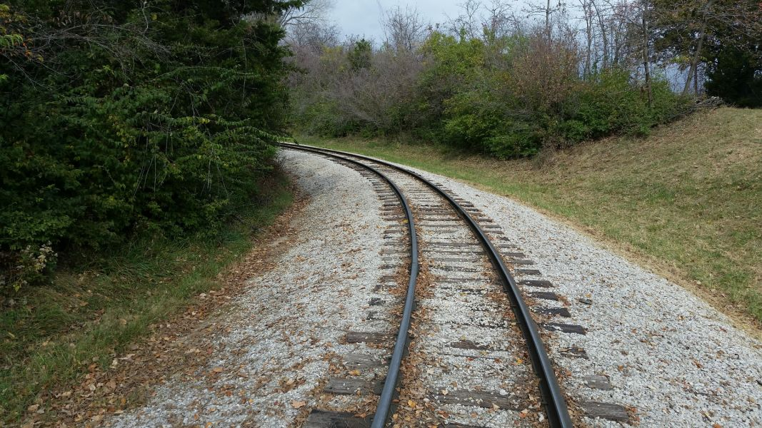 railroad track on gravel at World's of Fun