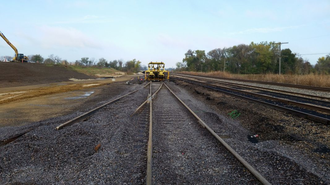 Westar Energy railroad construction during the day
